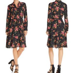 Nanette Lepore Black Floral Shirt Dress